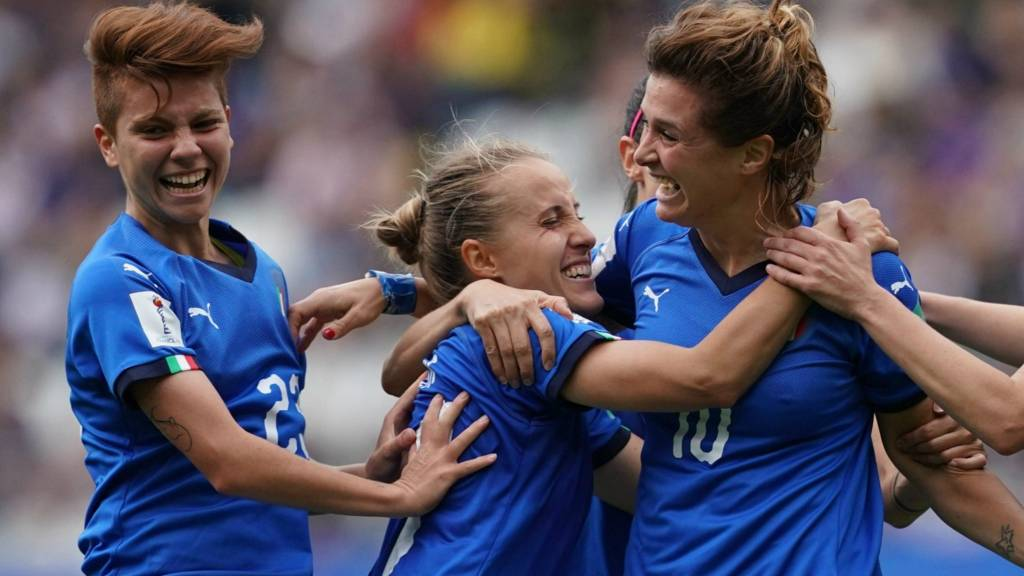 Le Azzurre celebrate their 5-0 victory over Jamaica, source: BBC